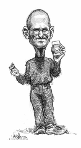 digital caricature sketch of Steve Jobs