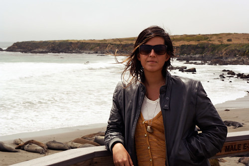 Me in front of the elephant seals. Highway 1 Piedras Blancas Light, California - July 2011