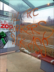 This is terrible: TTC Bus Shelter Graffiti, January 4, 2012 by MPriceMitchell