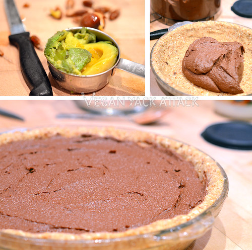 Assembling the raw chocolate mousse pie