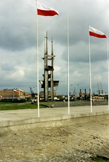 Gdynia  June 1995 Polish flags.