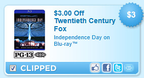 Independence Day On Blu-ray Coupon