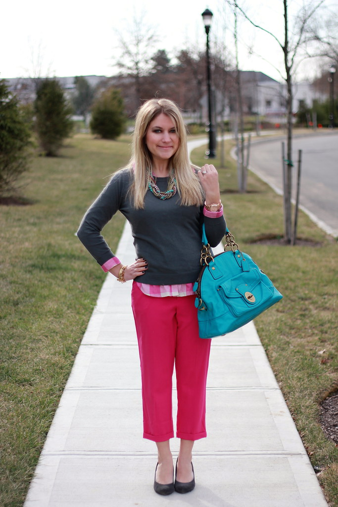 pink and charcoal outfit