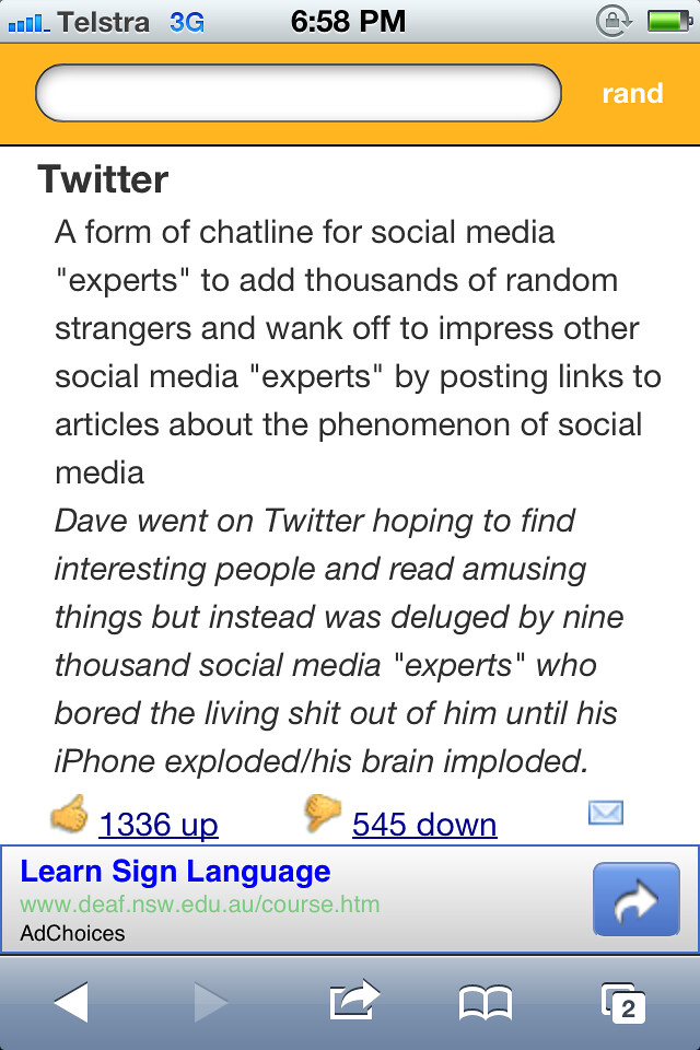 Twitter according to Urban Dictionary
