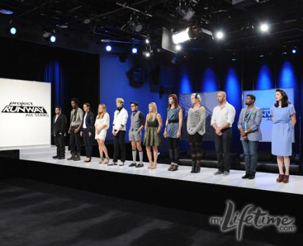 the contestants from last night's episode standing on the runway