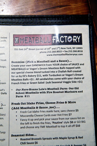 The Meatball Factory menu