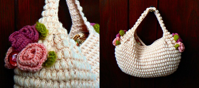 Summer bag with crocheted flowers.