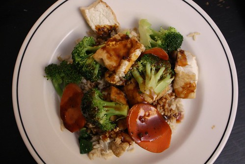 Steamed Broccoli and Tofu with Brown Rice and Black Bean Sauce