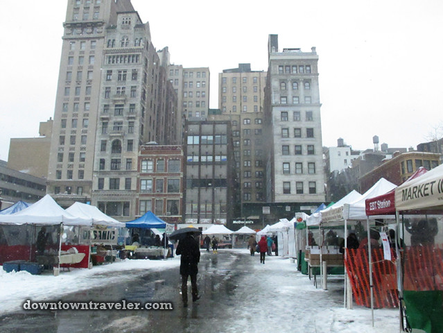 NYC Snowstorm January 2012 Union Square Greenmarket 2
