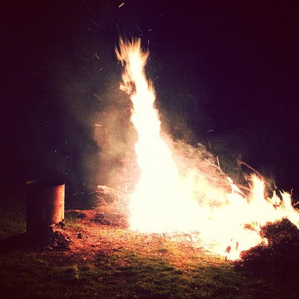Leafy Bonfire #iphone4s #instagram #fire #bonfire #burning #hot #heat #night #instagood #dark