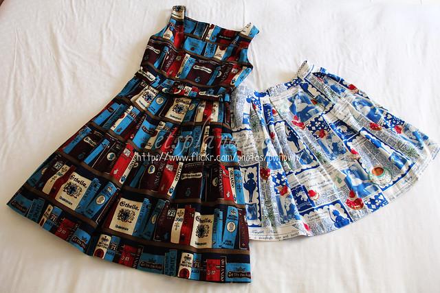 "JM British ""Libraly"" and ST Newspaper print skirt"