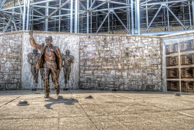 Joe Paterno Statue outside Beaver Stadium HDR