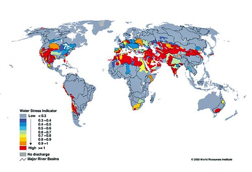 areas of water stress worldwide (by: World Reources Institute vis 8020 Vision)