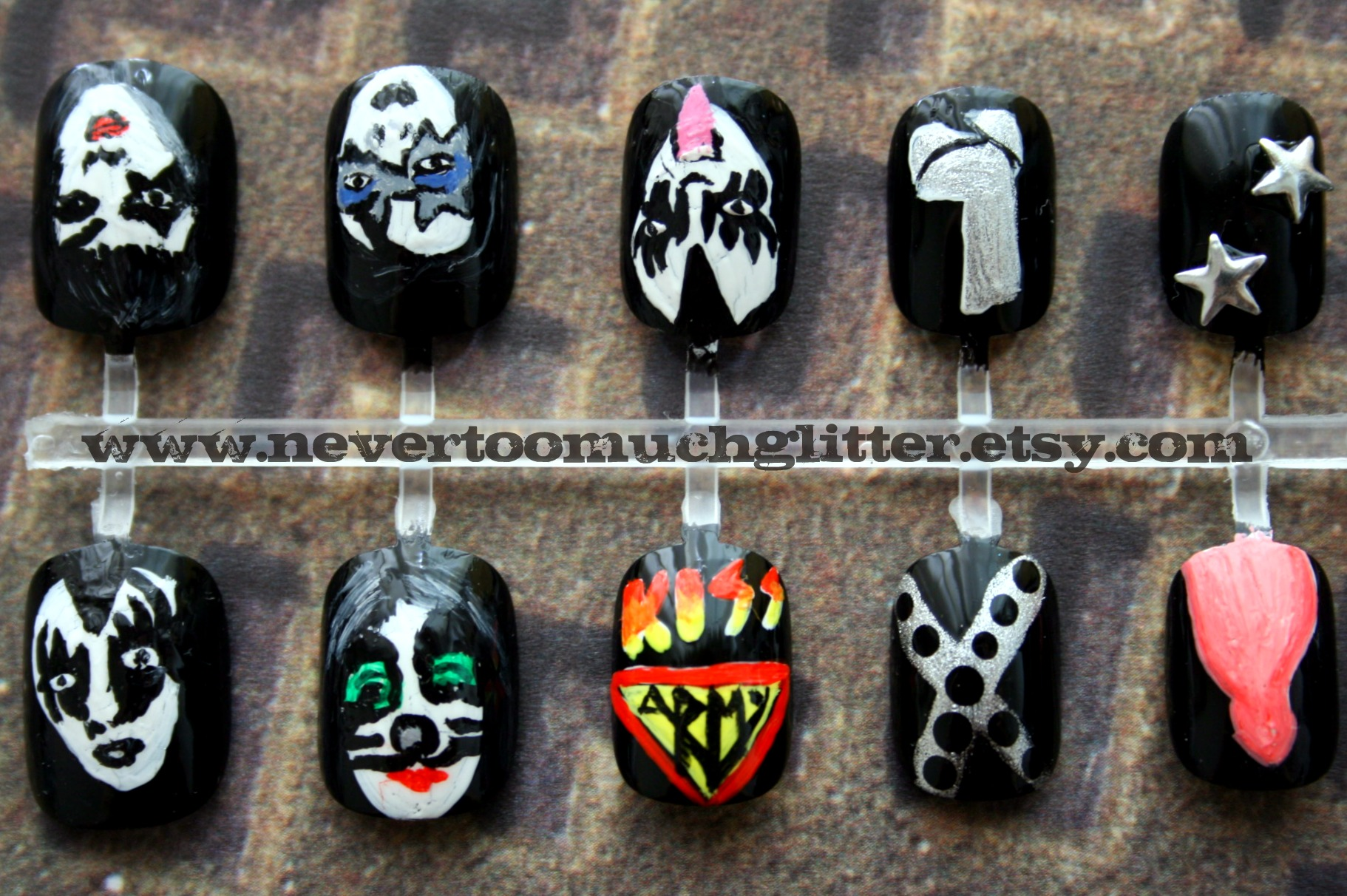 KISS Nails 1 | Nail art featuring KISS and Gene Simmons