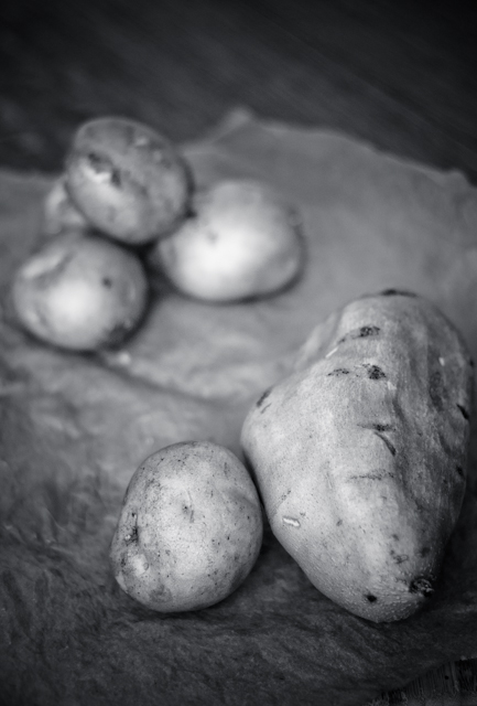 sweet and yukon gold potatoes