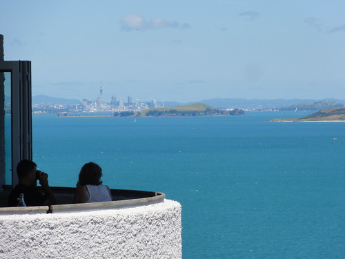 Te Whau restaurant with Auckland in background