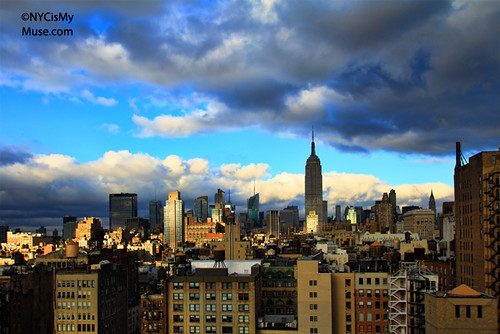Empire State Building and the wild afternoon skies