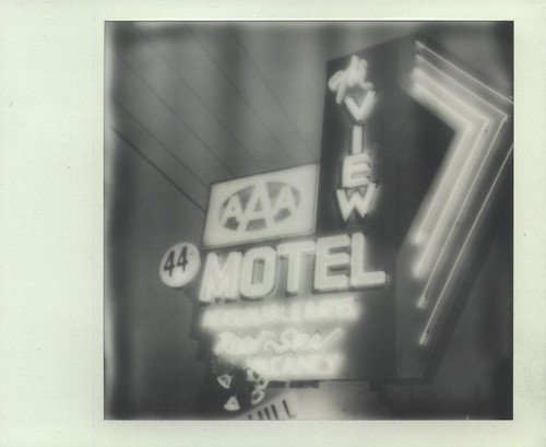 blackandwhite bw sign polaroid sx70 mainstreet neon january motel signage neonsign aaa 44 theview 2012 verdevalley cottonwoodarizona px100 89a instantfilm january27 testbatch ellenjo ellenjoroberts polaroidonestepsx70 impossibleproject theimpossibleproject