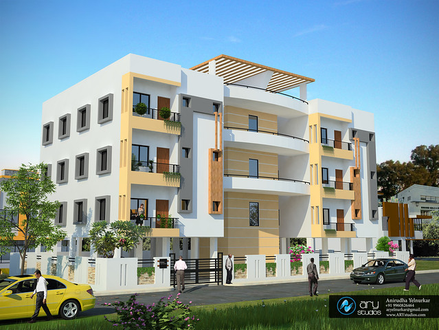 3d Exterior Architectural Rendering Apartment Building Modern Contemporary Ar