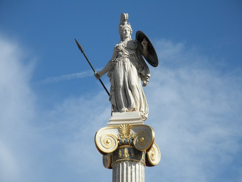 Athena, the goddes of wisdom.