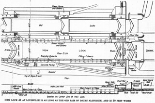"99c073 supplement: diagram of ""new"" 600-foot Lock 41 and ""old"" Scowden locks (1915)"