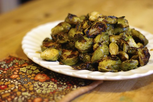 Roasted Brussels Sprouts with Maple-Mustard Glaze