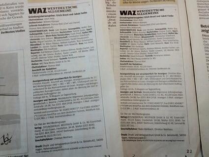 Westdeutsche Allgemeine Zeitung (WAZ): Impressen