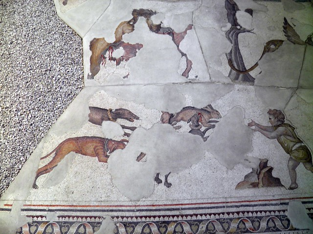 Detail of the 6th century mosaic floor from the Palatium Magnum (Constantinople's Great Palace), Palace Mosaic Museum, Istanbul