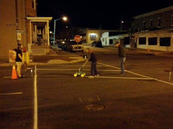 Guerrilla crosswalk installation, Hampden, Baltimore