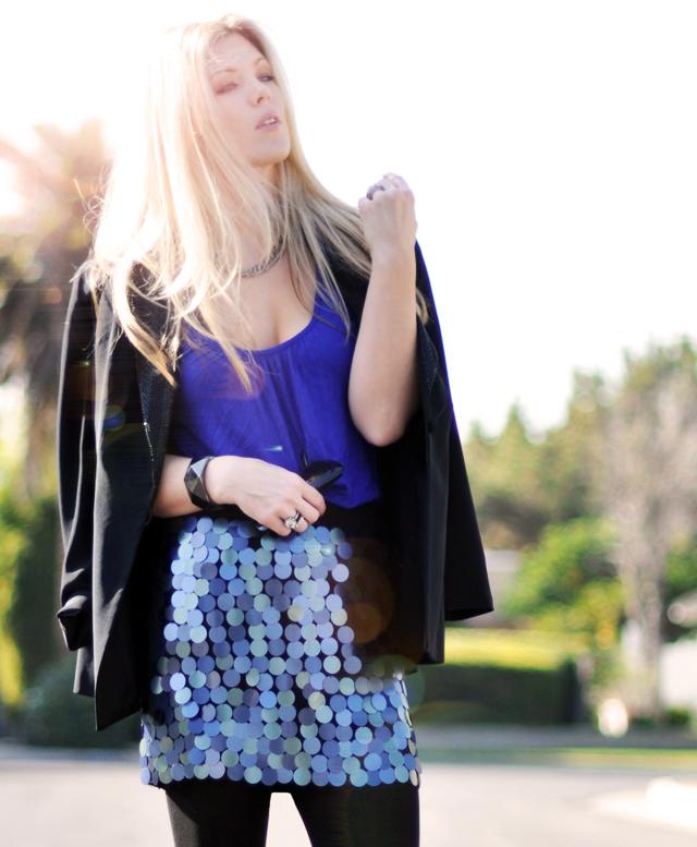 Paillette skirt -tank top-blazer-