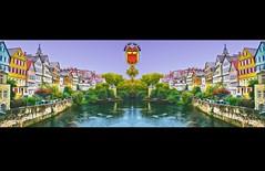 PANORAMA - Neckarfront Tübingen • Photopedia •  - Montage. Two of one kind.
