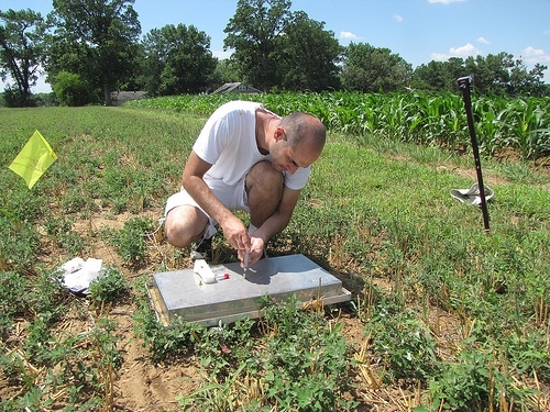 SASL team member graduate student Milutin Djurickovic samples greenhouse gases in the long-term Farming Systems Project. (Photo credit Michel Cavigelli)