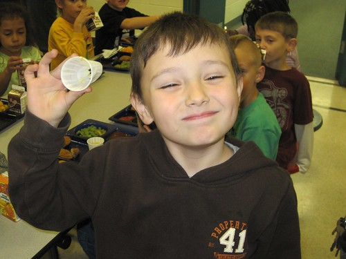 A Monroe County elementary school student displays nothing but smiles after participating in a MOGO taste test.