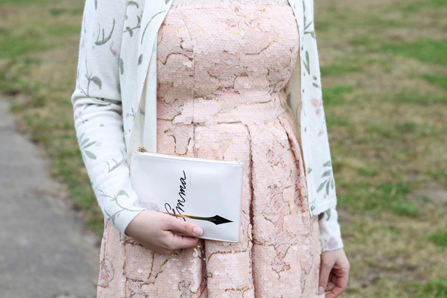 Pretty in Pink Outfit: Anthropologie pink and gold lace and sequin