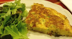 fish(0.0), produce(0.0), meal(1.0), breakfast(1.0), vegetable(1.0), frittata(1.0), food(1.0), dish(1.0), cuisine(1.0), quiche(1.0), tortilla de patatas(1.0), omelette(1.0),