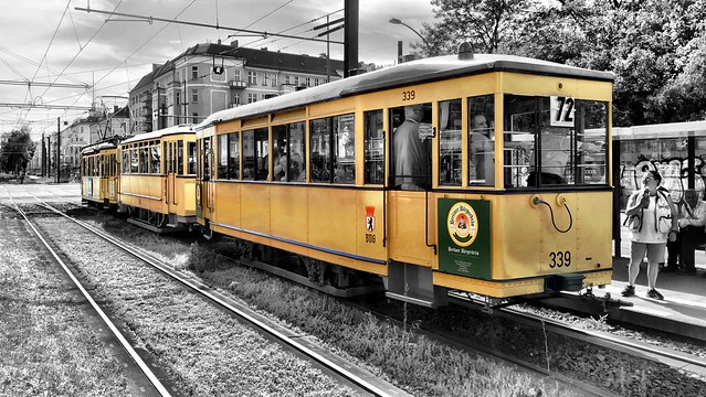 The historic tram is traveling 72