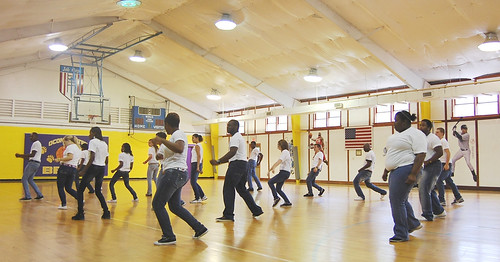 Students at the Oconaluftee Job Corps Civilian Conservation Center in Cherokee practice their choreography for a new student-produced fitness video. (Photo courtesy of Holly Krake/OJCCCC)