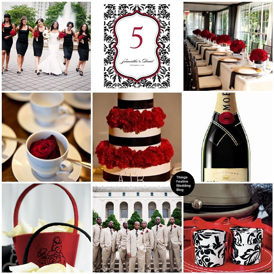 Red, Black And Taupe Wedding Theme