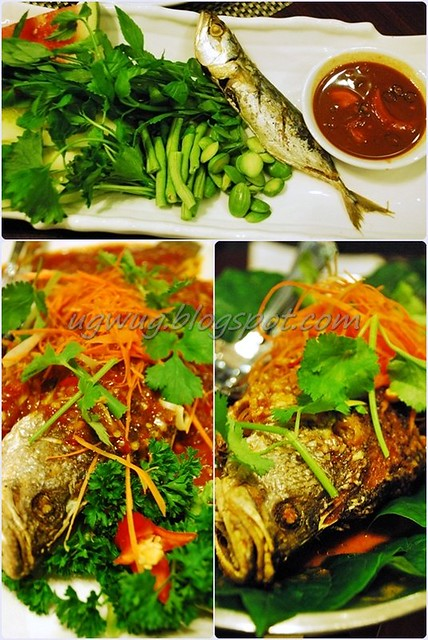 Ulam with Fried Fish (Kembong) & Budu, Ikan Siakap (Baramundi) with Serai (Lemongrass) or Daun Kadok (Betel Leaves)