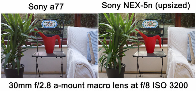 Noise comparison test between Sony a77 and Sony NEX-5n ISO3200