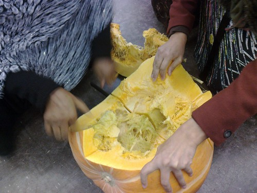 Pumpkin cutting by Marj Joly