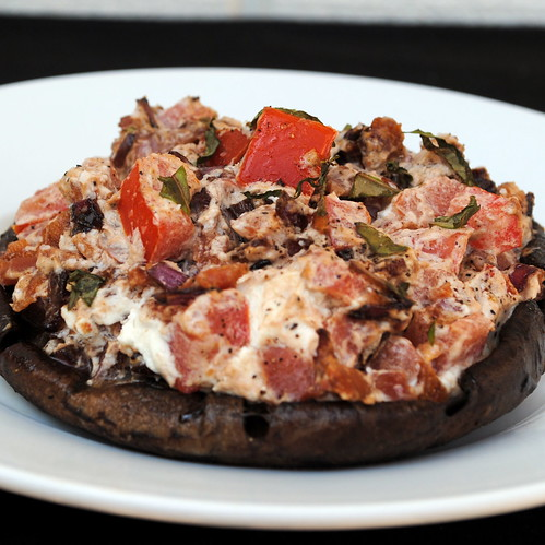 Portobello Mushrooms Stuffed with Goat Cheese, Tomatoes and Bacon