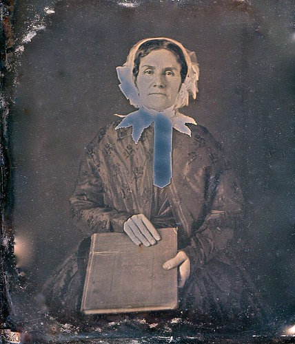 Woman With Large Book, Partly Solarized A. Gaudin 1/6th-Plate Daguerreotype, Circa 1850 by lisby1