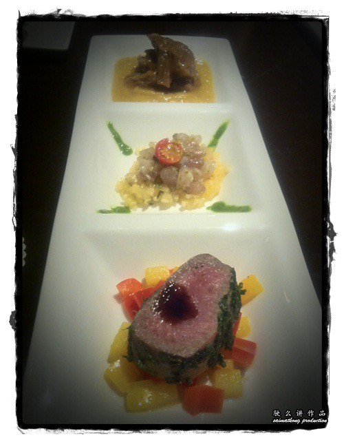 Smoked lamb loin in parsley crust on braised capsicum, yellow tail king fish seasoned with Tiger Crystal, Italian veal cheek braised with Tiger Crystal on sweet potato puree