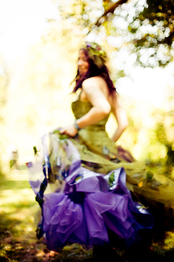 Green and purple fairy wedding dress | Offbeat Bride