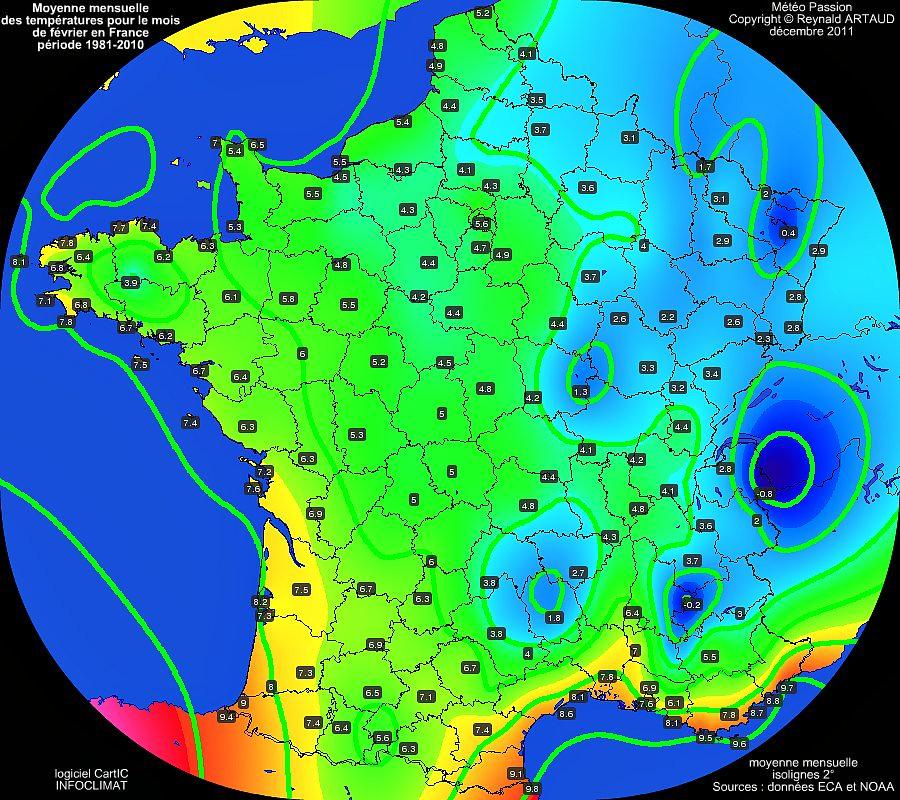 Moyennes mensuelles des températures pour le mois de février en France sur la période 1981-2010