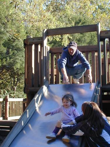 Having fun on the slide.