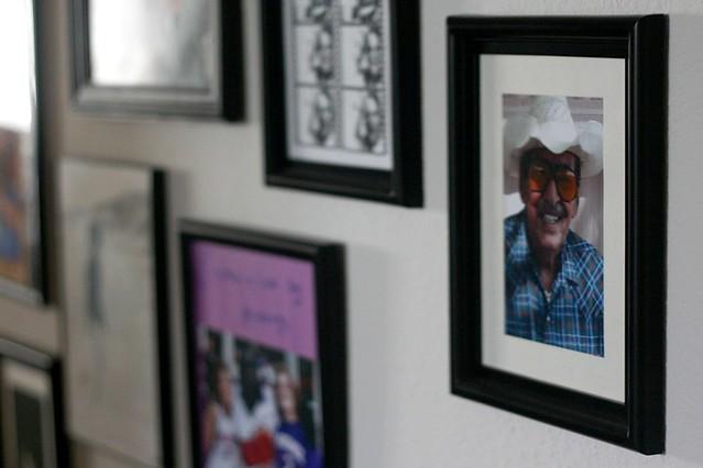 Closeup of hallway frames