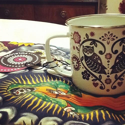 Owl Enamel Mug Folklore