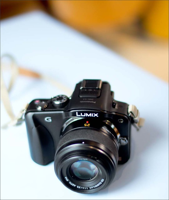 Panasonic G3 fitted with the Leica branded 25mm f/1.4 m4/3  lens photographed with a Sony NEX-5n fitted with a Voigtlander 35mm f/1.2 Nokton .